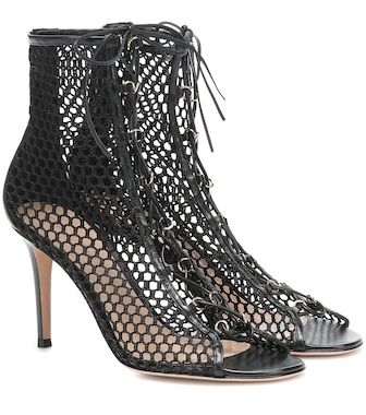 Gianvito Rossi - Helena leather-trimmed ankle boots - mytheresa.com