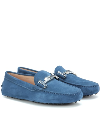 Tod's - Gommini Double T crystal-embellished suede loafers - mytheresa.com