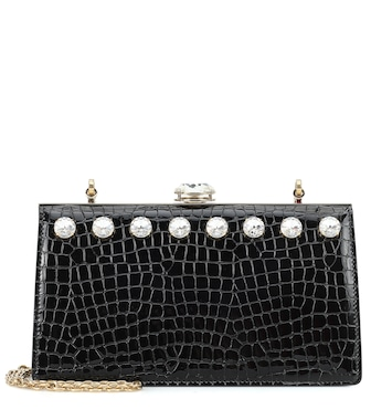 Miu Miu - Miu Solitaire leather clutch - mytheresa.com