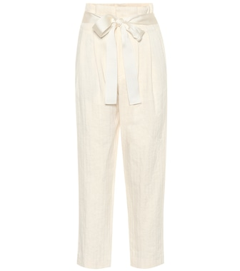 Brunello Cucinelli - High-waisted cotton and linen pants - mytheresa.com