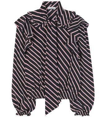 Balenciaga - Ruffled striped blouse - mytheresa.com