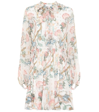 Chloé - Embroidered printed silk dress - mytheresa.com
