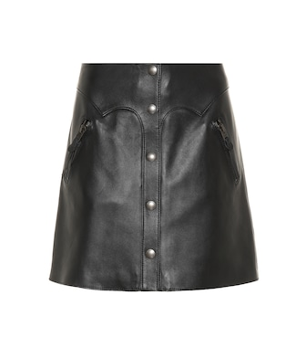 Coach - Snap-front leather miniskirt - mytheresa.com