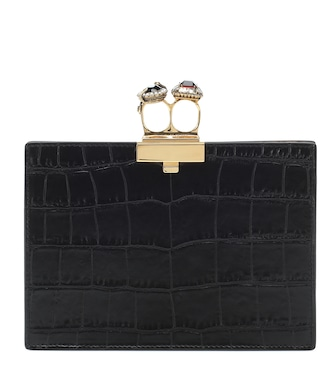 Alexander McQueen - Clutch Jewelled Small Double-Ring - mytheresa.com