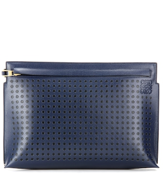 Loewe - Dots T Pouch leather clutch - mytheresa.com