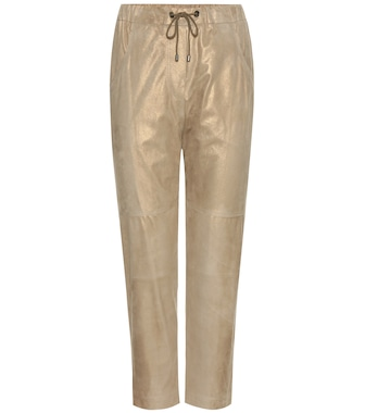 Brunello Cucinelli - Metallic suede trousers - mytheresa.com