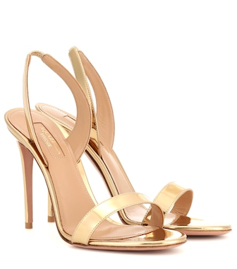 Aquazzura - So Nude 105 patent-leather sandals - mytheresa.com