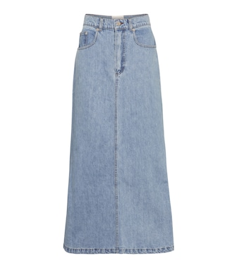 Nanushka - Claudia high-rise denim midi skirt - mytheresa.com
