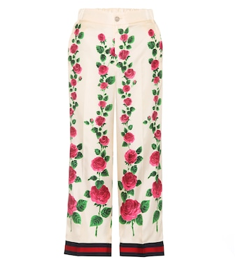 Gucci - Floral-printed silk trousers - mytheresa.com