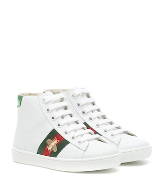 Gucci Kids - Ace leather high-top sneakers - mytheresa.com
