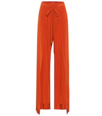 Chloé - Silk high-rise wide-leg pants - mytheresa.com