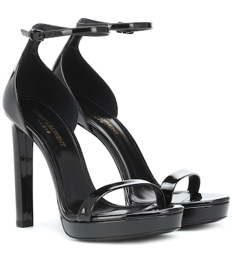 Saint Laurent - Hall patent leather sandals - mytheresa.com