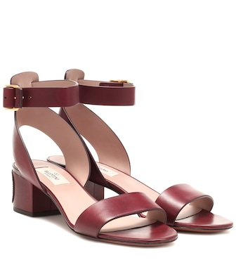 Valentino - Valentino Garavani VLOGO leather sandals - mytheresa.com