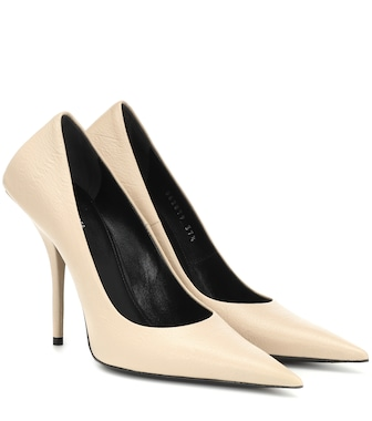 Balenciaga - Square Knife leather pumps - mytheresa.com