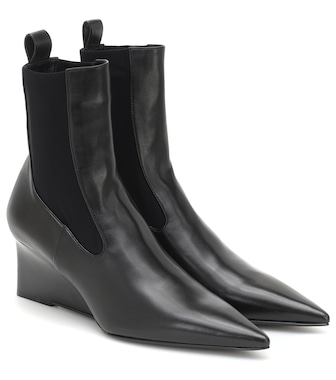 Jil Sander - Leather wedge ankle boots - mytheresa.com