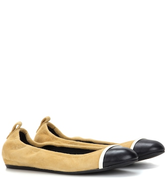 Lanvin - Suede and leather ballerinas - mytheresa.com