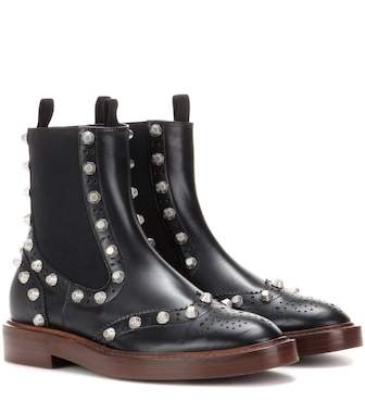 Balenciaga - Embellished leather Chelsea boots - mytheresa.com