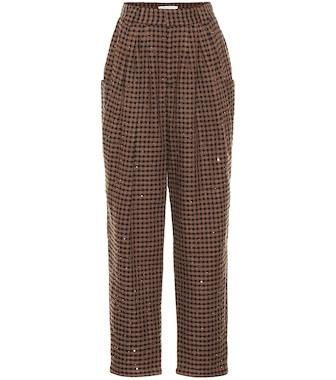 Alessandra Rich - Vichy sequined tweed pants - mytheresa.com