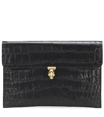 Alexander McQueen - Skull croc-effect leather clutch - mytheresa.com