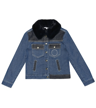 Chloé Kids - Denim jacket with faux fur - mytheresa.com