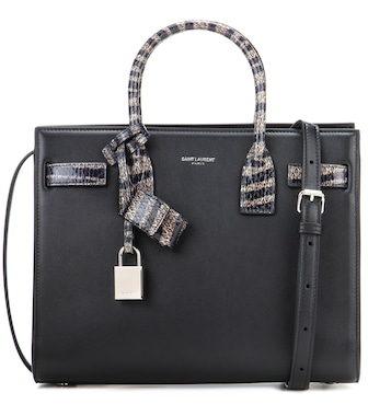 Saint Laurent - Baby Sac De Jour snakeskin-trimmed shoulder bag - mytheresa.com