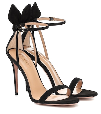 Aquazzura - Bow Tie 105 suede sandals - mytheresa.com