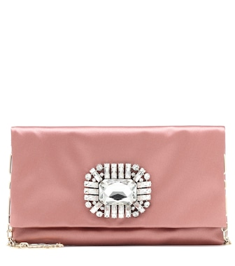 Jimmy Choo - Titania embellished satin clutch - mytheresa.com