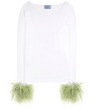 Prada - Exclusive to mytheresa.com – feather-trimmed cotton top - mytheresa.com