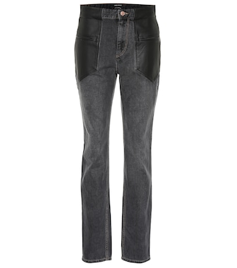 Isabel Marant - Novera leather-trimmed jeans - mytheresa.com