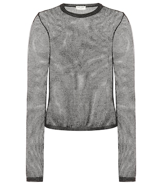 Saint Laurent - Metallic open-knit top - mytheresa.com