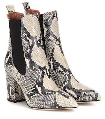 Paris Texas - Snake-effect leather ankle boots - mytheresa.com
