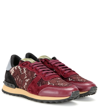 Valentino - Valentino Garavani Rockrunner lace, leather and suede sneakers - mytheresa.com
