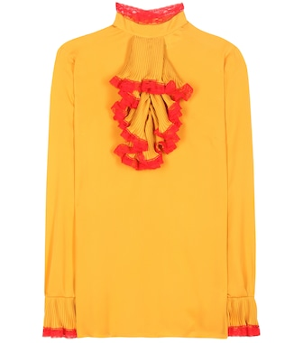 Gucci - Lace-trimmed silk blouse - mytheresa.com