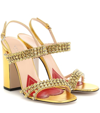 Gucci - Crystal metallic leather sandals - mytheresa.com