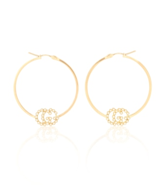 Gucci - GG Running 18kt gold hoop earrings with diamonds - mytheresa.com