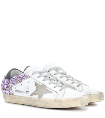 Golden Goose Deluxe Brand - Exclusive to mytheresa.com – Superstar crystal-embellished leather sneakers - mytheresa.com