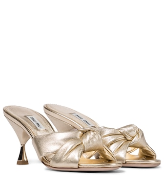 Miu Miu - Metallic leather sandals - mytheresa.com