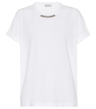 Brunello Cucinelli - Embellished stretch cotton T-shirt - mytheresa.com