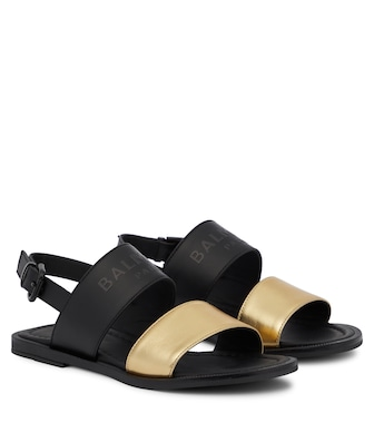 Balmain Kids - Logo leather slingback sandals - mytheresa.com