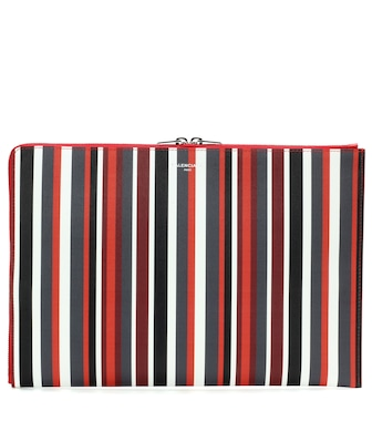 Balenciaga - Essential striped leather clutch - mytheresa.com