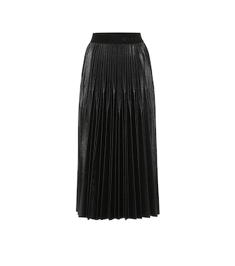 Givenchy - Varnished jersey pleated midi skirt - mytheresa.com