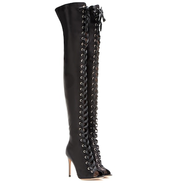 Gianvito Rossi - Marie satin over-the-knee boots - mytheresa.com