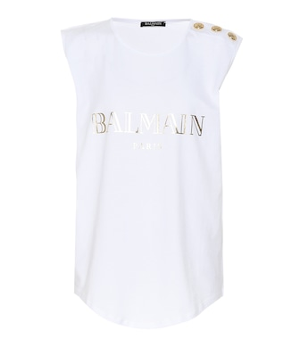 Balmain - Sleeveless printed cotton T-shirt - mytheresa.com