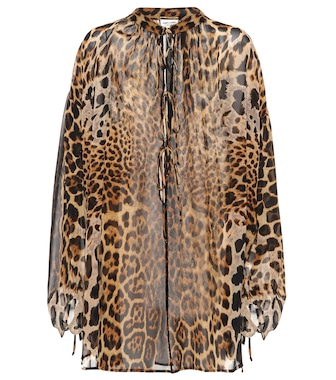 Saint Laurent - Leopard-printed silk top - mytheresa.com