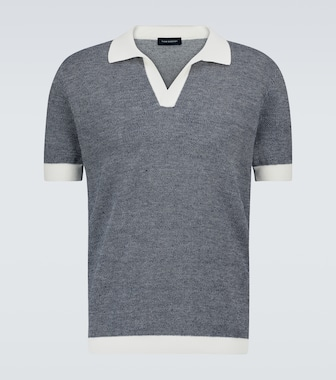 Thom Sweeney - Open-collar cotton and linen polo - mytheresa.com