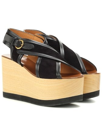 Isabel Marant - Zlova suede and wood wedge sandals - mytheresa.com