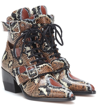 Chloé - Rylee printed leather ankle boots - mytheresa.com