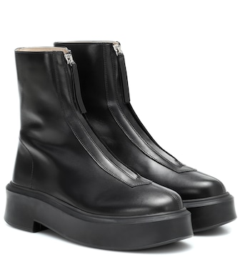 The Row - Zipped 1 leather ankle boots - mytheresa.com