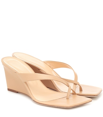 By Far - Theresa leather wedge sandals - mytheresa.com