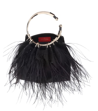 Valentino - Valentino Garavani silk-blend feather clutch - mytheresa.com